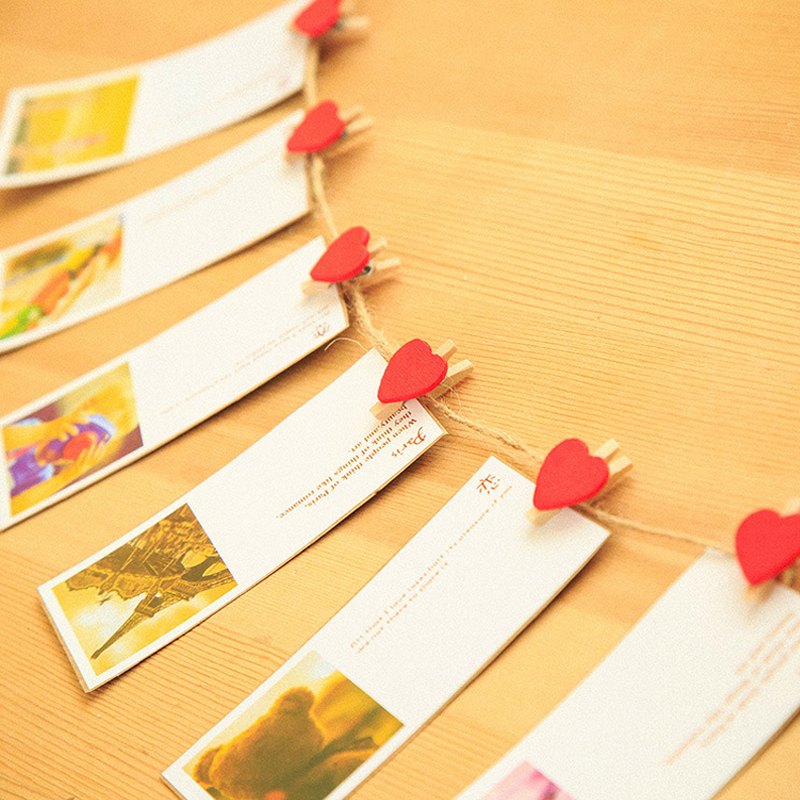 50 PCS Mini Heart Love Wooden Clothes Photo Paper Peg Pin Clothespin Craft Postcard Clips Home Wedding Decoration