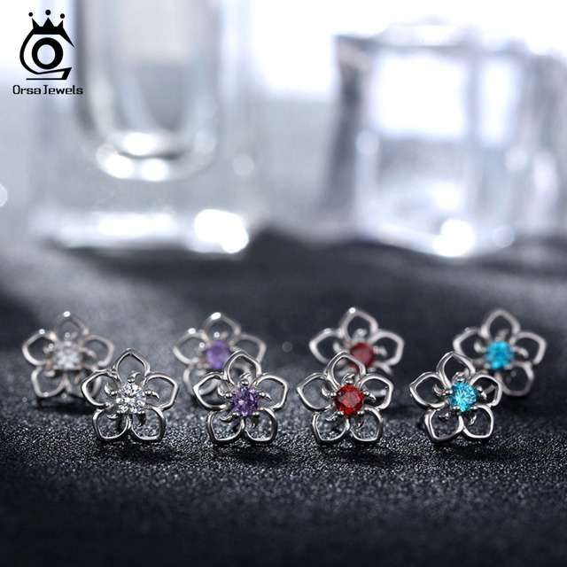 925 Sterling Silver Female Stud Earrings  2