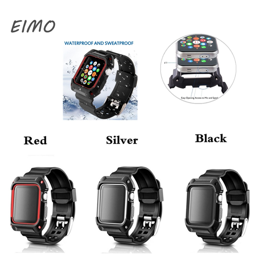 EIMO Watch strap+case For Apple watch band 42mm/38mm iWatch 3/2/1 bracelet silicone watchband+Protective Cover watch belt sport silicone strap case for apple watch band 42mm 38mm bracelet nike watchband protective case for iwatch 3 2 1 wrist belt