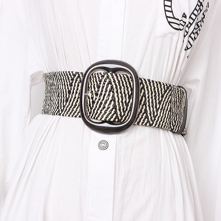 Wooden Buckle Dress Belt For Women Casual Female Braided Wide Strap Female Designer Woven Girls Elastic PP Straw Belts BZ342