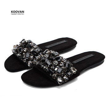 Koovan Women Slipper 2018 New Word Slipper Summer Non-slip Flats Bottom Rhinestone Cool Flat With Students Cool Women Shoes