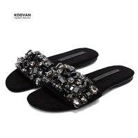 Koovan Women Slipper 2017 New Word Slipper Summer Non Slip Flats Bottom Rhinestone Cool Flat With