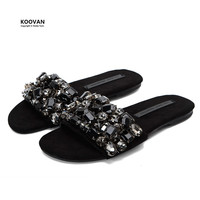 Koovan Women Slipper 2018 New Word Slipper Summer Non slip Flats Bottom Rhinestone Cool Flat With Students Cool Women Shoes
