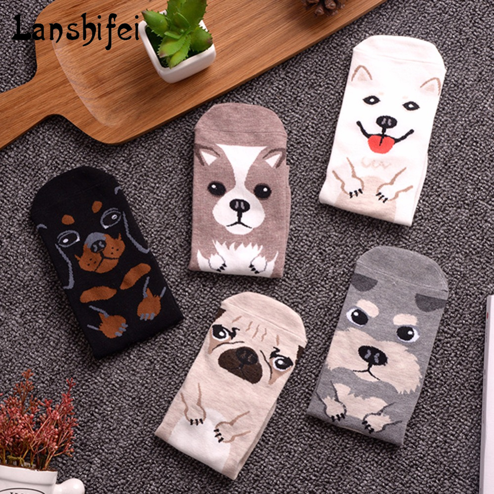 Cute Dog Thickened Socks Animal Unisex Warm Keeping Cartoon Cotton Korean Style Socks 5 dog pattern Socks for Winter and Autumn