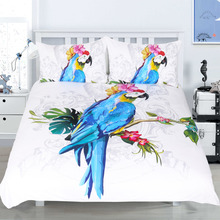BeddingOutlet Arte Duvet Cover Set de 3 Unidades de Aves Guacamayo Morning Glories 3D Juego de Cama Ropa de Cama de Microfibra Estampado de Animales Vivos