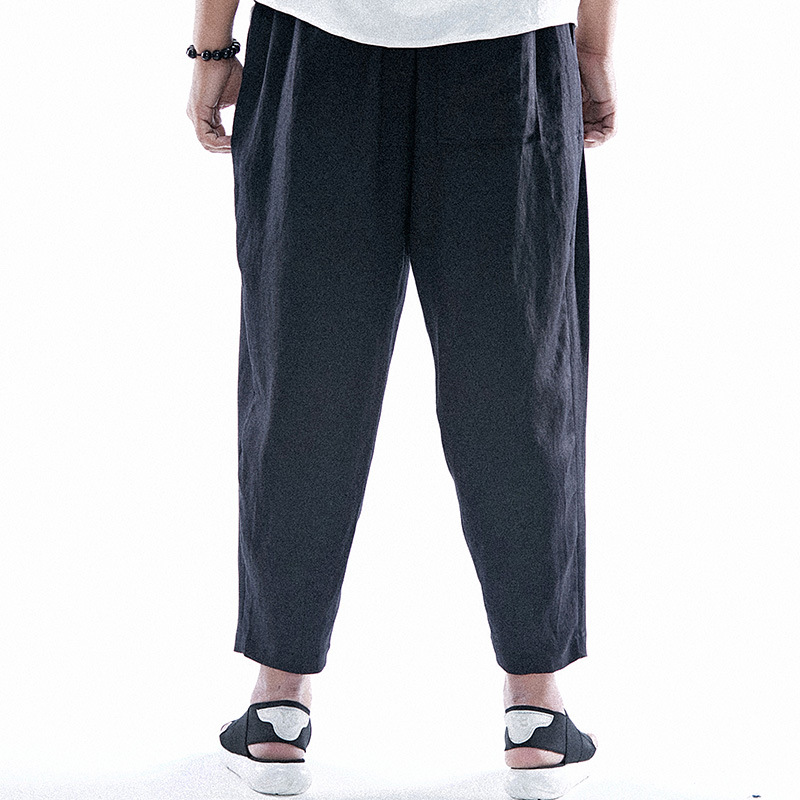 Вес 130 кг Большой Размер 2XL-6XL Китай Стиль Вышивки Высокое Качество Белья Мужские Свободные Случайные Брюки Летняя Мода Свободные Шаровары брюк