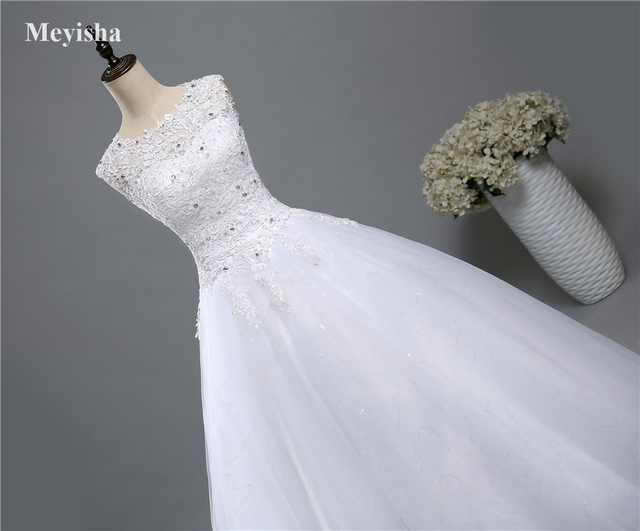 ZJ9139 Ball Gown Real Images Lace Tulle 2020 Wedding Dresses 2019 Dresses Bridal Dress Plus Size Shine Skirt Crystal Beads 4