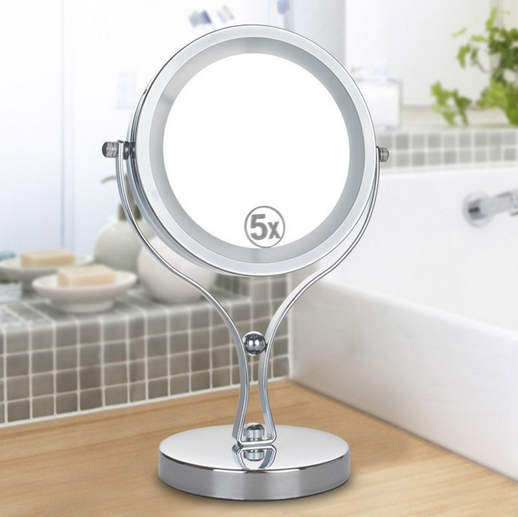 6 Inch 5x Magnification Circular Makeup Mirror Dual Sided Rotating Cosmetic Mirror Stand Tabletop LED Light Makeup Mirror