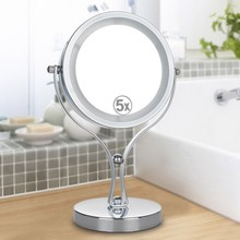 6 Inch 5x Magnification Circular Makeup Mirror Dual Sided Rotating Cosmetic Stand Tabletop LED Light