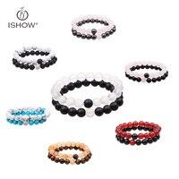 Zwart Wit Kleur Natuursteen Elastische Kralen Armband voor Koppels Gift voor Liefhebbers 7 Kleuren Mode Accessoire voor Mannen Vrouwen