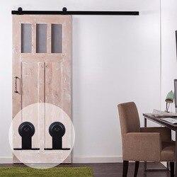 LWZH 7 pies 9 pies estilo americano Puerta de Granero deslizante de madera DIY Kit de Hardware de acero negro en forma de T herramienta de pista de rodillos para una sola puerta
