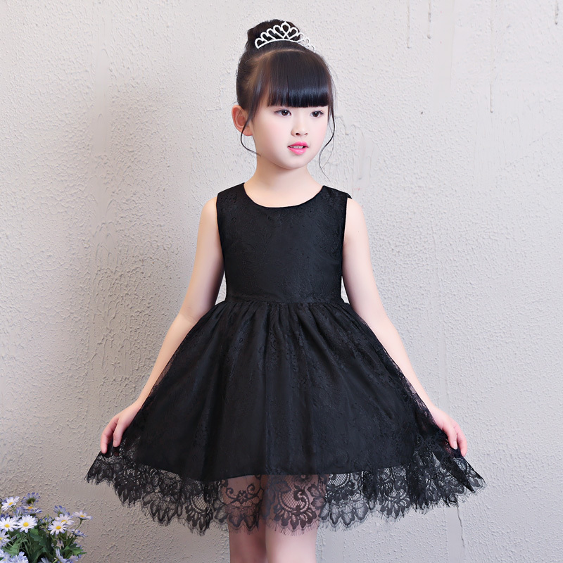 Black Summer Girl Dress Evening Gown Lace Princess Dress Children Ball Gown Bow Short Style Kids First Communion Dress E245 цены онлайн