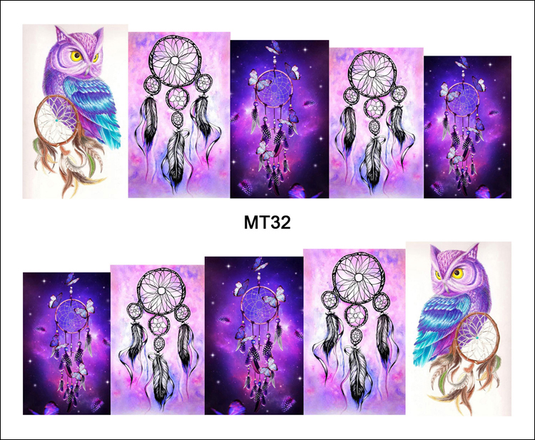 1 Sheet Nail MT32 Full Cover Dream Catcher Owl POP Nail Art Water Transfer Sticker Decal For Nail Art Tattoo DIY Nail Tool 2017 new dream catcher water transfer nail art sticker water decals diy decoration for beauty nail tools a1262