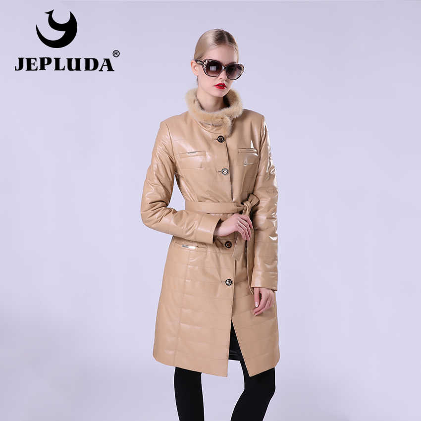 JEPLUDA New Fashion Women's Leather Jacket Of Real Sheepskin Women's Leather Coat Stand Collar Of Natural Fur Mink Windbreaker