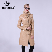 JEPLUDA New Fashion Women's Leather Jacket Of Real Sheepskin Women's Leather Coat Stand Collar Of Natural Fur Mink Windbreaker