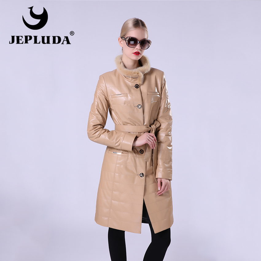 JEPLUDA New Fashion Womens Leather Jacket Of Real Sheepskin Womens Leather Coat Stand Collar Of Natural Fur Mink Windbreaker