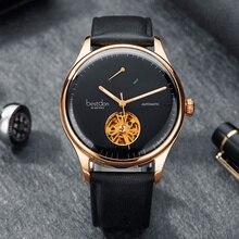 a0761c60f سويسرا العلامة التجارية الفاخرة الميكانيكية ووتش الرجال 316 الصلب الكامل  النخبة الهيكل العظمي الساعات الأزياء مضيئة