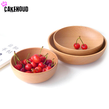 New Products Shelves Wooden Light Mouth Pure Wood Salad Wooden Bowl Three Sets Japanese Beech Noodles Bowls One Rice Bowl