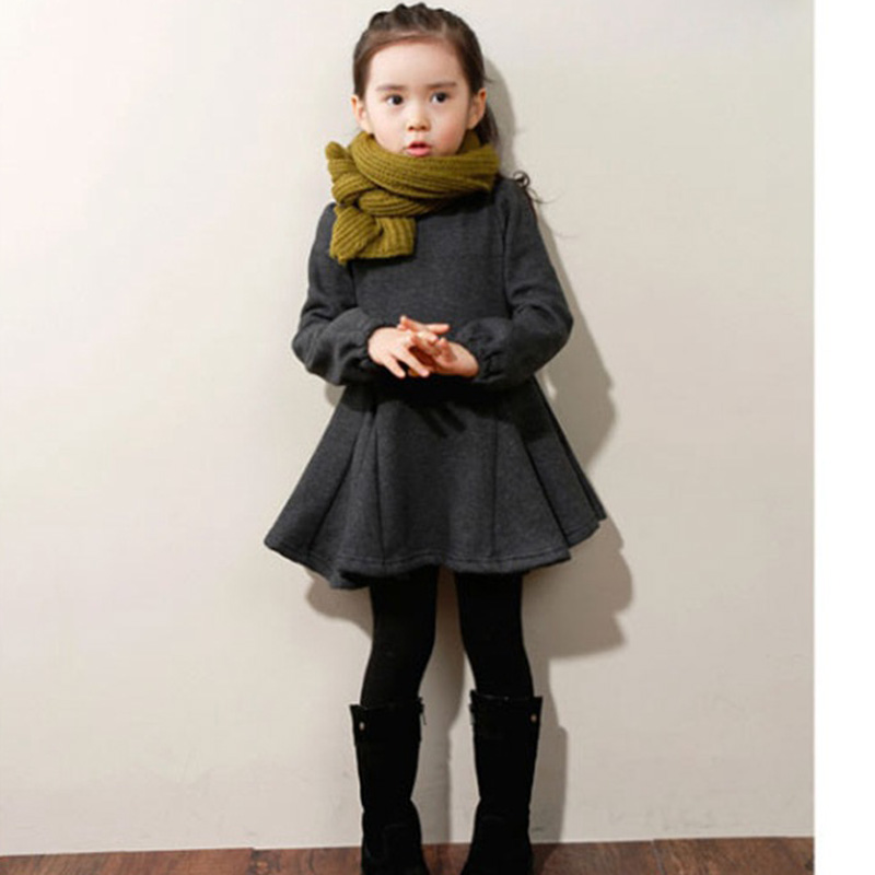Kids Winter Dresses for Girls Korean Style Girls Clothes Cotton Thick Warm Velvet Girls Dress Long Sleeve 3-11Y DQ653 toddlers girls dots deer pleated cotton dress long sleeve dresses