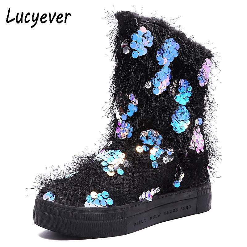 Lucyever 2018 Autumn Winter Women Flats Snow Boots Warm Fur Comfort Cotton Shoes Woman Slip on Glitter Fashion Ankle Boots women snow boots faux fur ankle boots winter warm cotton flock shoes woman slip on flats shoes large size