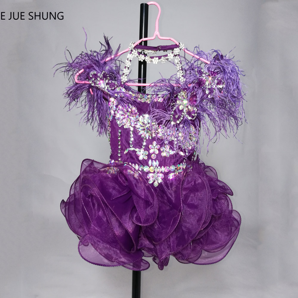 E JUE SHUNG Purple Organza Crystals Short   Flower     Girl     Dresses   Feather Cupcake Pageant   Girl     Dresses   tiffany Tutu   Dresses