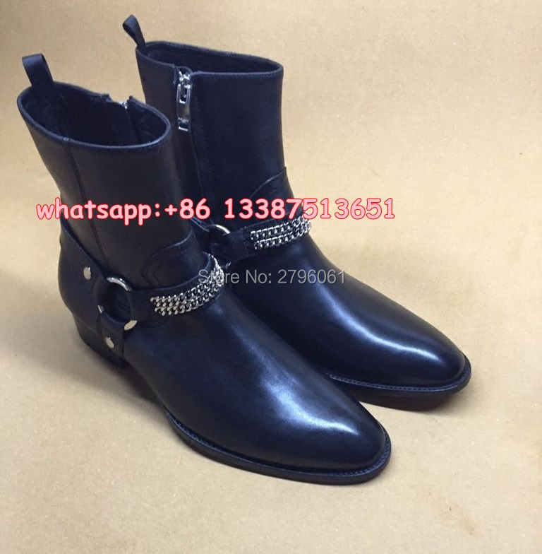 Best selling fall Classic Chain Harness Boot stacked heel Western inspired style font b men s