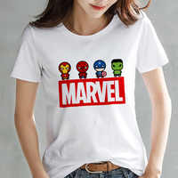 2019 Fashion Marvel Avengers T shirt Women printed Harajuku Tshirt Thin section Short Sleeve T-shirt White Tops Female Clothing