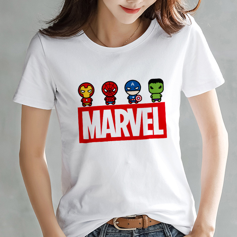 2019 Fashion Marvel Avengers T Shirt Women Printed Harajuku Tshirt Thin Section Short Sleeve T-shirt White Tops Female Clothing