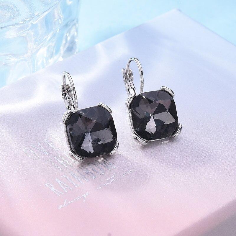 Fashion Geometric Square Drop Earrings Blue White Green Red Purple Gray  Austrian Crystal Earring For Women Wedding Jewelry-in Drop Earrings from  Jewelry ... 111c43ff3139