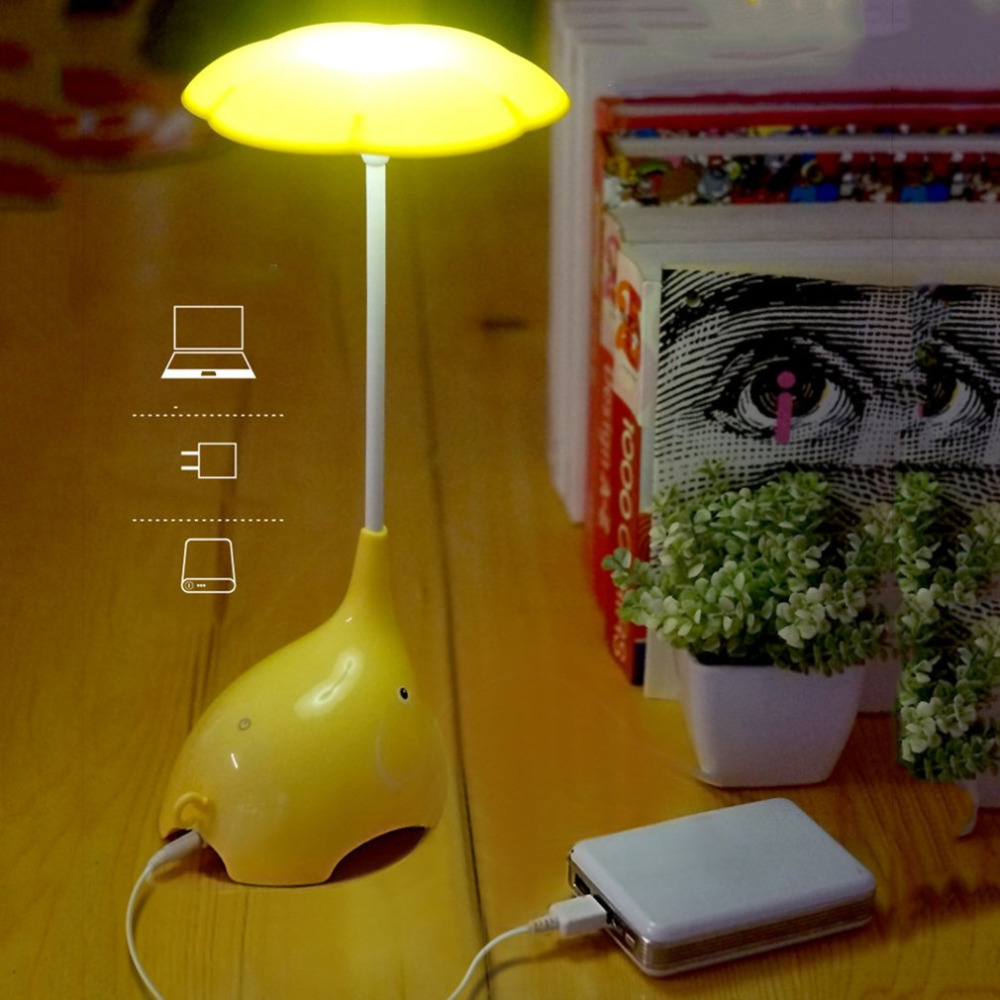 High Quality Touch Sensitive Innovative Elephant Shape LED Night Light USB Charging For Children Eye Protecting Desk Lamp hot