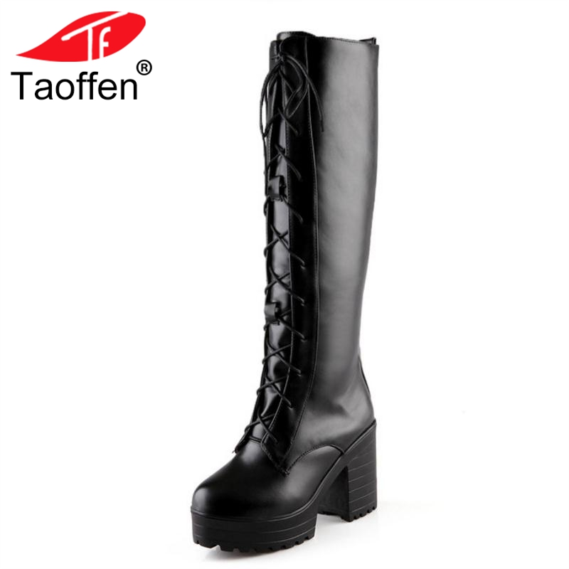 TAOFFEN Fashion Women High Heels Boots Lace Up Platform Warm Shoes Women Winter Fur Knee Boots Sexy Ladies Shoes Size 33-43 annymoli women boots winter platform extreme high heels boots sexy fashion boots red bridal wedding party shoes big size 33 43