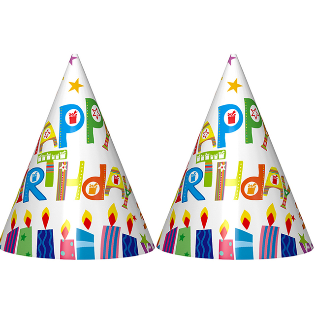 6pcs Lot New Arrive Cute Candle Happy Birthday Printed Cartoon Hats Paper Hat Kids Adults Party Suppliesdecor