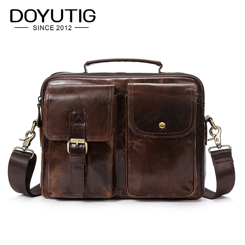 DOYUTIG Men's Real Cow Leather Business Briefcases 11 Inches Brown / Black Genunie Leather Male Messenger Computer Bags G122