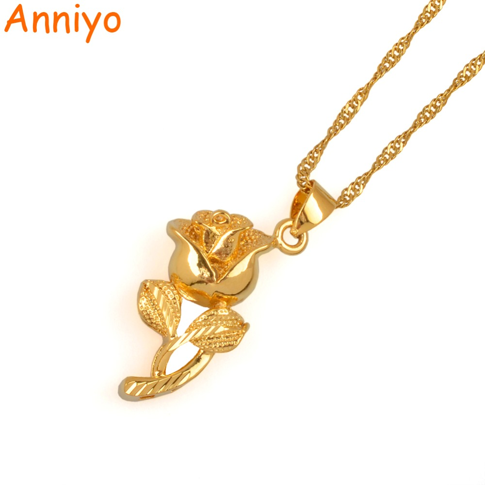 Anniyo Flower Necklaces For Women Gold Color And Brass