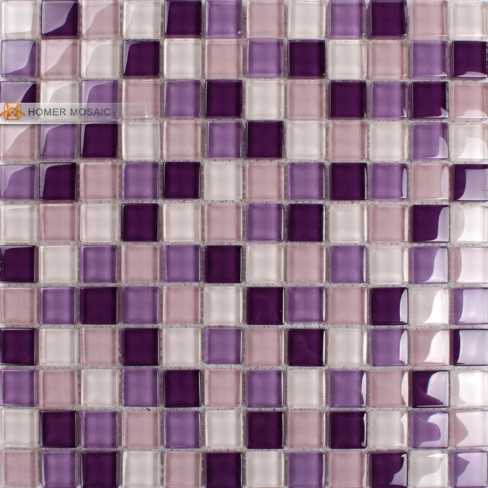 Purple Color Crystal Gl Mosaic Tiles For Kitchen