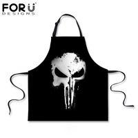 Forudesigns novetly кухня фартуки череп кулинария рукавов фартук для женщин черный шеф-повар мужская мальчики bbq party фартук для взрослых