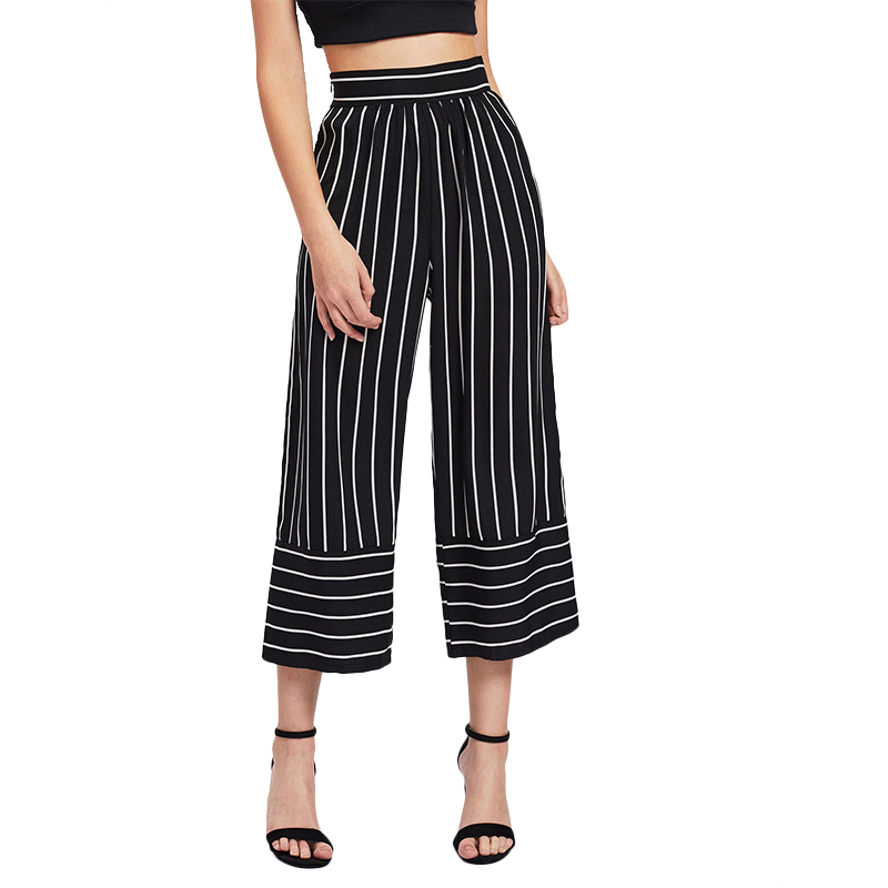 New Fashion Women Ladies Striped Ankle Length Leggings Jeggings Stretchy Bell-bottom Trousers High Waist   Wide     Leg     Pants