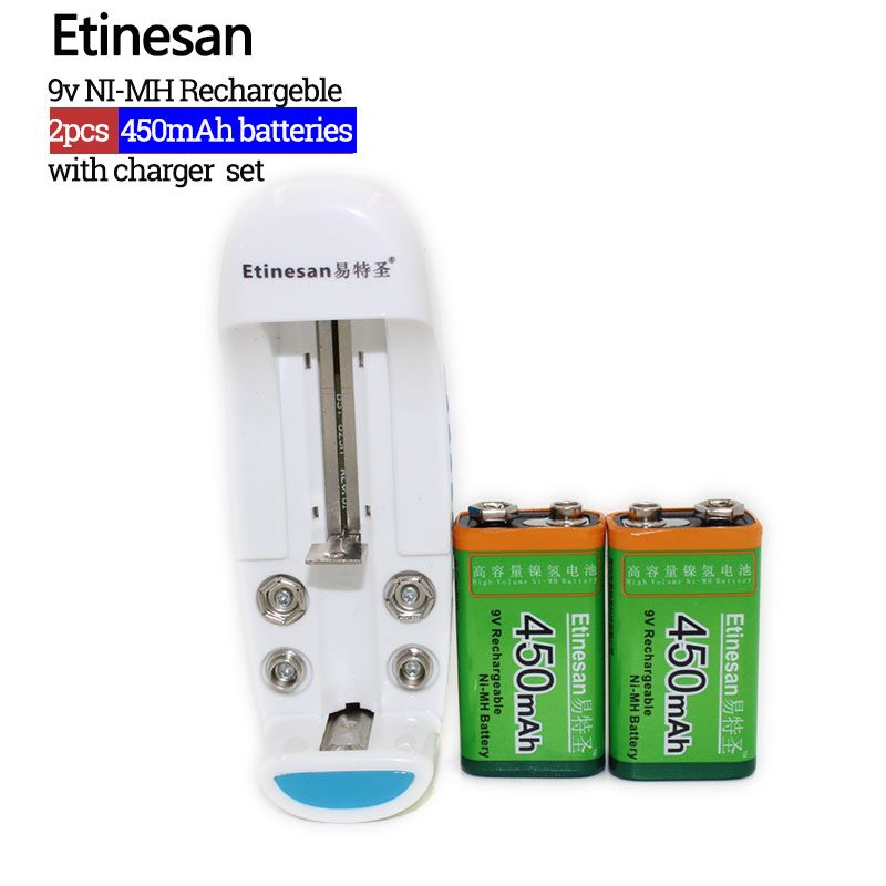 2pcs 9v 450mAh Ni-MH Rechargeable 9 Volt NiMH Battery with Universal 9v aa aaa 18650 cr123a battery charger factory outlet