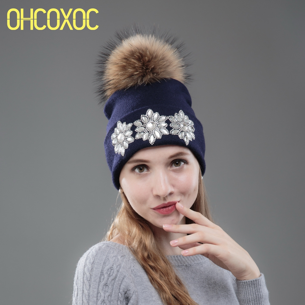 Image OHCOXOC New Women Beanies Real Fox Fur Pom Poms Ball Cap Keep Warm Beanies Skullies Big White Flower Rhinestone Winter Hat