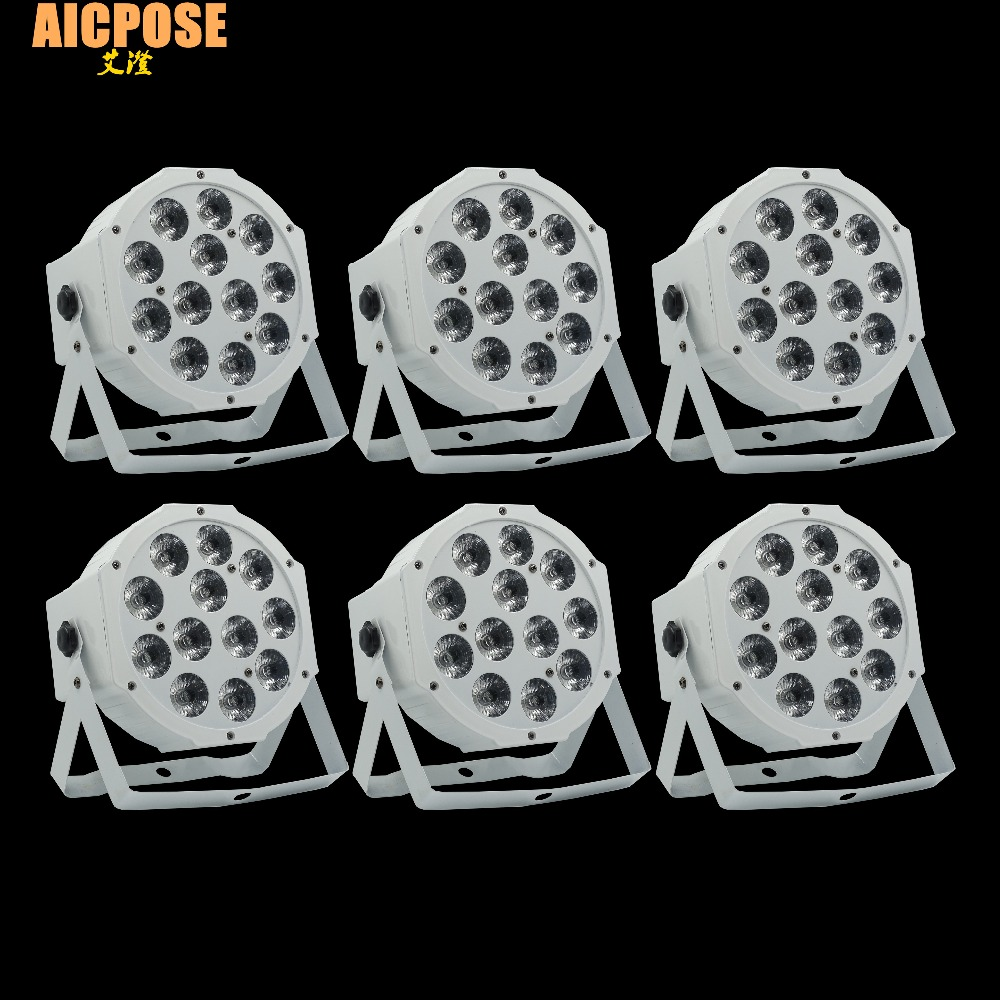 6pcs/lots 12x12w Flat Par Led Flat White Led Par Light 12*12W Smooth RGBW Color Mixing DMX 4/8 Channels Stage Wash