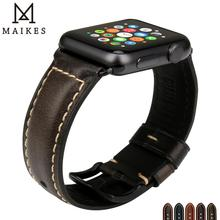 MAIKES Genuine Leather Strap Watchband Bracelet For Apple Watch Band 44mm 40mm Series 4 & 42m 38mm 3 2