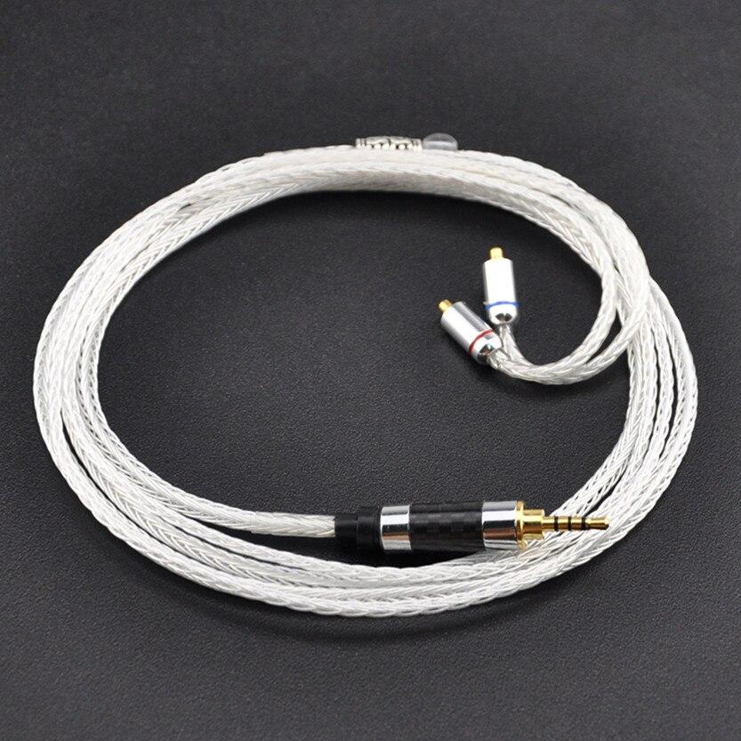 Wooeasy 2.5/3.5mm 16 Core Argent Plaqué Câble des Écouteurs Pour LZ A4 DQSM VT AUDIO SHUER846 MMCX Connetor intra-auriculaires Câble