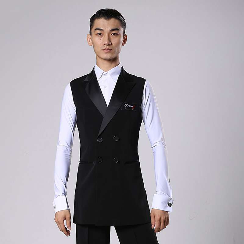 Ballroom Latin Dance Shirts Men Black Long Veat Coat Male Waltz Flamengo Cha Cha  Clothes Competition Performance Wear DNV11344Ballroom   -