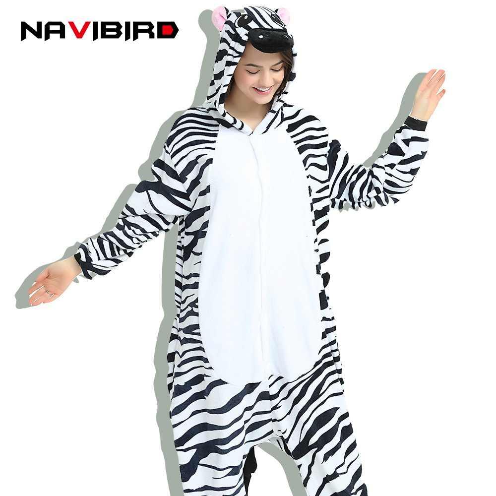 Кигуруми животного Zerbra Onesie взрослая женщина черный полосатый  Комбинезоны Пижама Аниме пижамы унисекс цельный пижамы Pijama efaf6ae6246cf