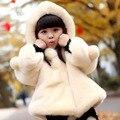 2016 Nova moda da chegada das crianças roupas de inverno meninas da pele do falso casaco com capuz meninas bonito casaco meninas jaqueta de inverno
