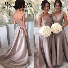 2017 Grecian Champagne Color Bridesmaid Dresses Satin A Line Prom dress Arabic Bruidsmeisje Jurken Voor Volwassenen Plus Size