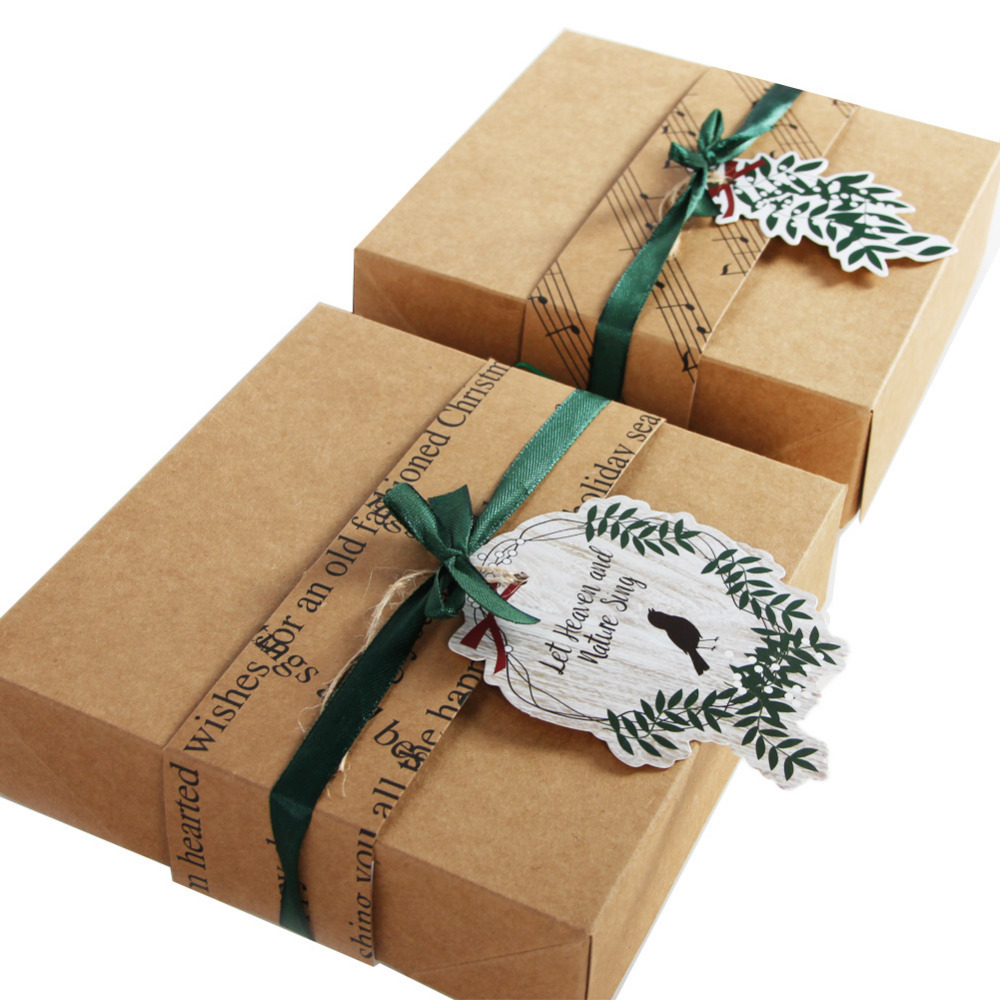 8pc Delicate Brown Handmade Gift Box Craft Paper Christmas Gift Box with Mistletoe Leaves and Singing Bird Tags Candy Presents