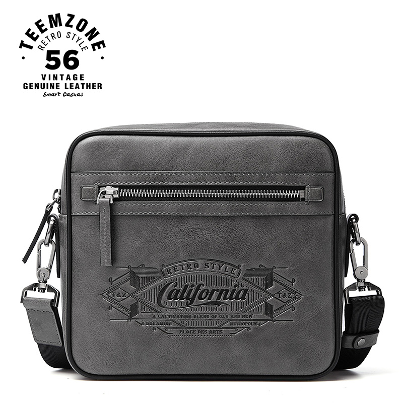 teemzone California Style Trend Mens Messenger Bag Men Leisure Business Single Shoulder Bag iPad Bag Casual Crossbody Bags T8002