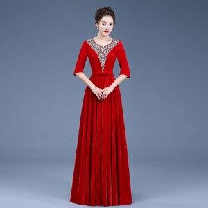 Image 2 - Золотое бархатное платье для хора, женское платье, новое приталенное платье для взрослых среднего возраста, командная служба хора