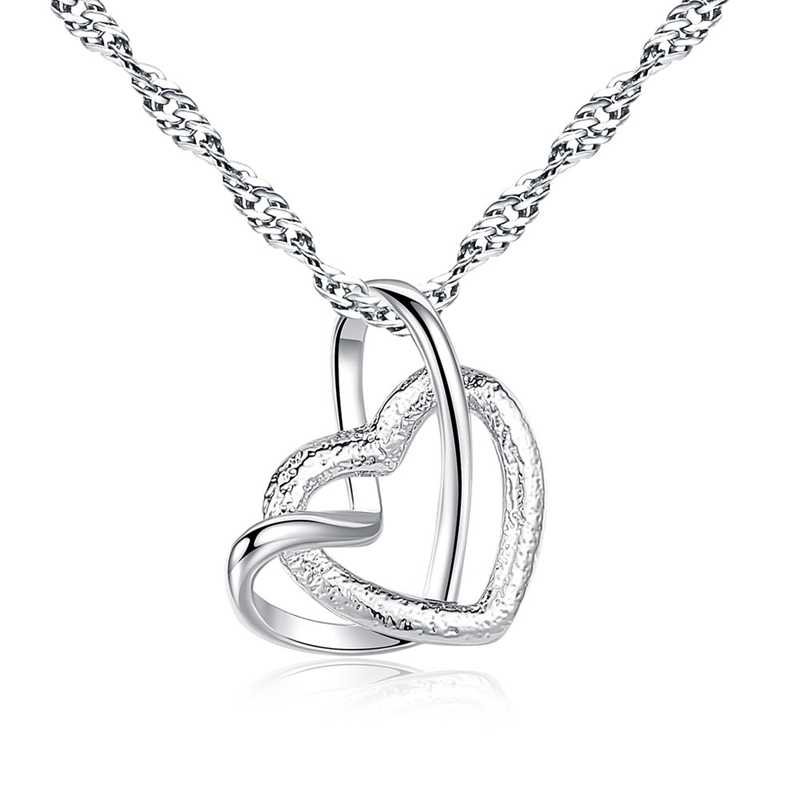 SHUANGR Silver Color Stainless Steel Heart Necklace Pendant For Woman Fashion Jewelry Double Heart Sliver Color Necklace